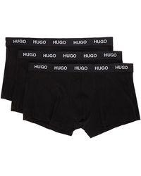 HUGO ブラック ロゴ ボクサー ブリーフ 3 枚セット