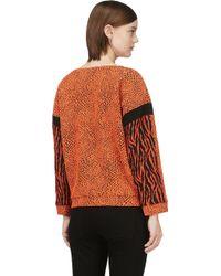 Avelon - Orange Animal Textured Jumper - Lyst