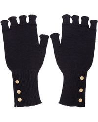 Thom Browne - Navy Wool Fingerless Gloves - Lyst