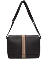 Paul Smith - Black Leather Signature Stripe Messenger Bag - Lyst