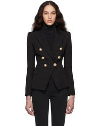 Balmain Black Wool Double-breasted Blazer