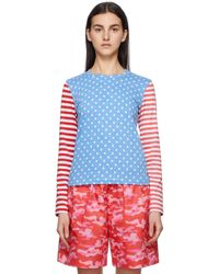 Comme des Garçons ブルー & レッド 水玉 & ストライプ ロング スリーブ T シャツ