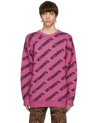 Vetements ピンク All-over ロゴ セーター