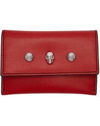 Alexander McQueen Red Skull Studs Envelope Card Holder