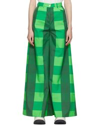 Sunnei Green Taffeta Check Trousers