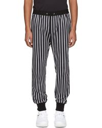 Dolce & Gabbana - Black And White Striped Lounge Trousers - Lyst
