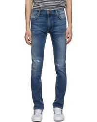 Nudie Jeans ブルー Ripped Thin Finn ジーンズ
