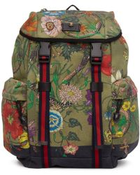 Gucci - Multicolour Canvas Flora Snake Print Backpack - Lyst