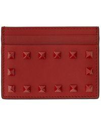 Valentino - Red Garavani Tonal Rockstud Card Holder - Lyst