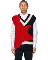 Alexander McQueen Black & Red Intarsia Ink Bleeding Vest