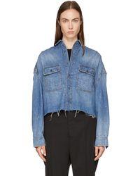 R13 - Blue Cropped Denim Shirt - Lyst