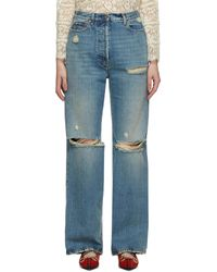 Gucci Eco-washed Ripped Jeans - Blue
