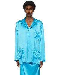 Balenciaga ブルー シルク Fluid パジャマ シャツ