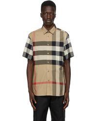 Burberry Somerton Checked Regular-fit Stretch-cotton Poplin Shirt - Natural