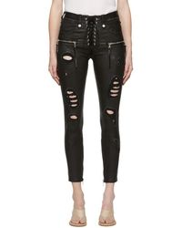 Unravel Project Black Distressed Leather Lace-up Trousers
