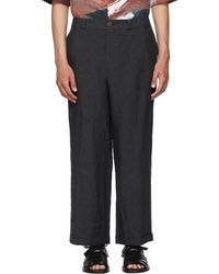 Toogood Black Linen Bricklayer Trousers