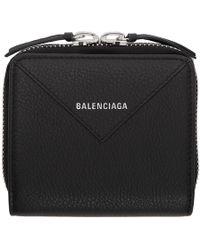 Balenciaga - Black Square Papier Zip Around Wallet - Lyst