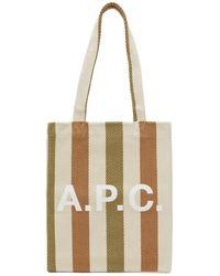 A.P.C. - ベージュ ストライプ Lou トート - Lyst