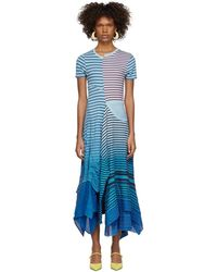 Loewe ブルー アシンメトリック ストライプ タイダイ ドレス