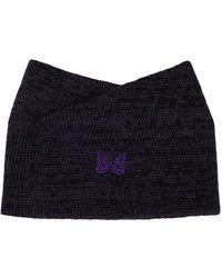 Needles Black & Wool Collar Scarf - Purple