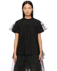 ShuShu/Tong T-shirt noir à empiècement superposé en tulle exclusif à SSENSE