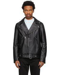 Acne Studios Blouson motard en cuir noir