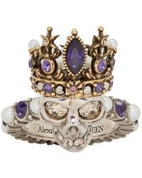Alexander McQueen Silver And Gold Queen Skull Ring - Metallic