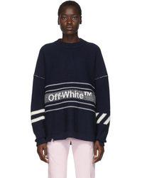 Off-White c/o Virgil Abloh Ssense 限定 ネイビー ウール ロゴ セーター - ブルー