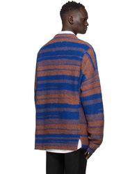 WOOYOUNGMI Blue And Brown Alpaca Stripe Cardigan