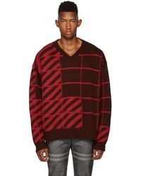 Off-White c/o Virgil Abloh Brown And Orange Diag Panel V-neck Jumper - Red