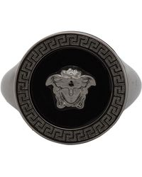 Versace Ssense Exclusive Black Medusa Icon Ring - Metallic