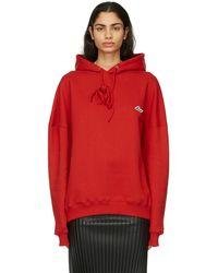 we11done Pull à capuche et logo brodé rouge