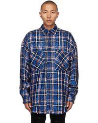Faith Connexion Navy Check Tweed Oversized Shirt - Blue