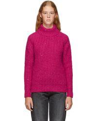 Saint Laurent Pink Oversized Mohair Sequin Turtleneck