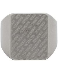 Vetements Silver All-over Logo Ring - Metallic