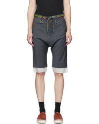 R13 Grey Shoelace Belt Shorts