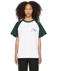 Rhude White & Green Raglan Logo T-shirt