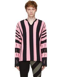Kiko Kostadinov ブラック & ピンク ストライプ Hydra セーター