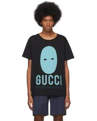 Gucci - ブラック And ブルー マニフェスト T シャツ - Lyst