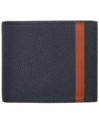 Valextra Portefeuille bi-volet bleu marine et orange Stripe 6CC