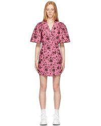 Ganni - ピンク フローラル ラップ ドレス - Lyst