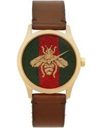 Gucci ゴールド & ブラウン ミディアム G-timeless Bee ウォッチ