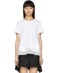 Sacai T-shirt blanc Lace Ruffle