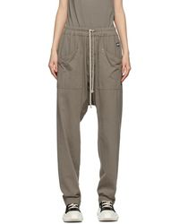 Rick Owens Drkshdw Taupe Long Drawstring Cargo Trousers - Multicolour