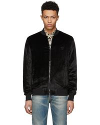 Versace - Black Chenile Zip-up Bomber Jacket - Lyst