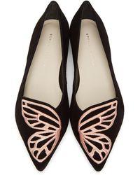 Sophia Webster ブラック スエード Butterfly バレリーナ フラット