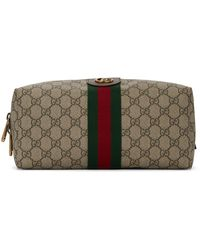 Gucci Beige GG Supreme Ophidia Toiletry Case - Natural