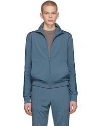 Bottega Veneta - Blue Jersey Zip-up Sweater - Lyst