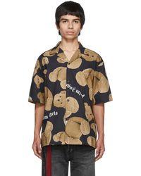 Palm Angels Chemise de bowling noire et brune Kill The Bear - Multicolore