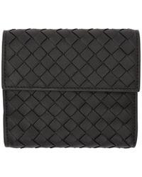 Bottega Veneta - Black Small Intrecciato Trifold Wallet - Lyst